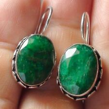 NATURAL EMERALD EARRINGS 925 STERLING SILVER 36.30 CT, FINE Estate Jewelry