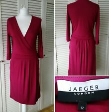 Jaeger Tailored Raspberry Pink Faux Wrap Dress Work Career Size UK 12
