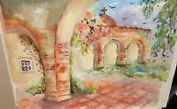 ELLEN ROBERTS ORIGINAL WATERCOLOR CALIFORNIA MISSION PAINTING