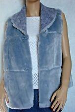 "Womens Fuzzy Blue Gray Reversible Vest Size 1X Bust 44""  Faux Fur"