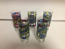 MILLER,BLUE RIBBON PABST,BLACK LABEL, SCHLITZ, FALSTAFF BEER STAINED GLASSES  5