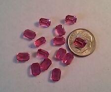 12 Vintage 7mmx5mm Swarovski Crystal Rose Octagon uf Rhinestones Jewelry Repair