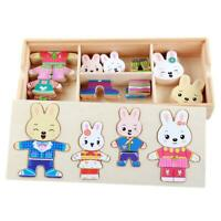 Baby Wooden Jigsaw Puzzle Dressing Game Rabbit Change Clothes Children Toys #8Y