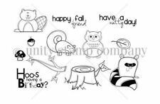 Unity Autumn Pals Beaver Skunk Owl Raccoon Tree Stump Rubber Cling Mount Stamps