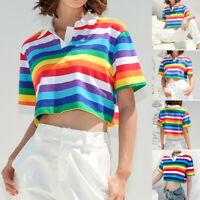 Summer Women Turn-down Collar Short Sleeve Rainbow Striped Print Short Crop  Top