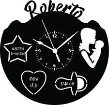OROLOGIO DA PARETE - Ricordo Cameretta Nascita Bambino Bambina Da Personalizzare