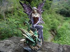 "Fantasy Fairy Dragon 11.8"" H Figurine Fairyland Legends Home Garden Decor Statue"