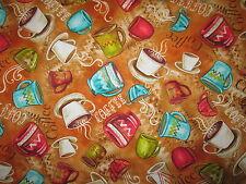 MOD COFFEE CUPS OVERALL ORANGE COTTON FABRIC FQ