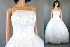 Da Vinci Wedding Gown 10 White Satin Chiffon Beaded Embroidered Dress w/ Train