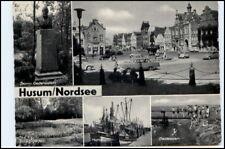 HUSUM Mehrbild-AK ~1955 Denkmal Storm Hafen Schiffe