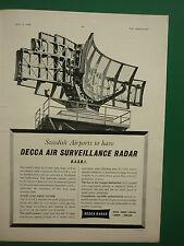 7/1958 PUB DECCA RADAR DASR1 SWEDISH AIRPORT STOCKHOLM / AMPHENOL ORIGINAL AD