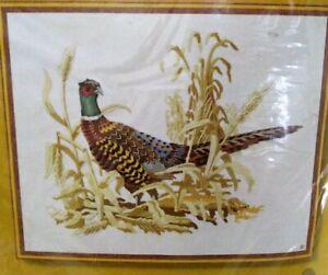 "Vintage 1977 ~ Pheasant Embroidery Crewel Kit 16"" x 20"" ~ Sunset Designs NEW NIP"