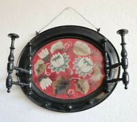 Victorian c1880 Ebony Wood Wall Hat Rack With Floral Hand Beading Under Glass