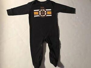 EUC INFANTS NHL BOSTON BRUINS HOCKEY REEBOK  ONE PIECE SZ  6-9 MONTHS