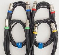 1,5m 3m Mikrofon Kabel DMX Kabel OFC 4 Stück je 2x 1,5 und 2x 3m lang Kabelklett