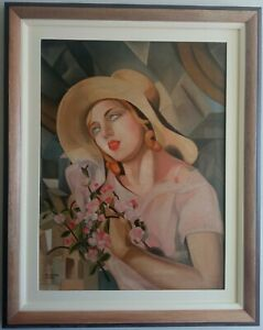 BEAUTIFUL PAINTING TAMARA DE LEMPICKA 1929 WITH FRAME IN GOOD CONDITION