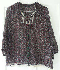 Chiffon Paisley Blouse 18 Red BLue Cream Lace F&F Retro Boho Prarie Hippy