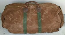 XL Vintage LL BEAN Canvas Duffle Bag w/ Leather Handles 27 x 14 x 12