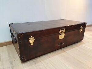 Original vintage / antique Louis Vuitton leather cabin steamer trunk