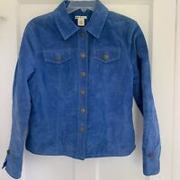 Genuine Blue Suede Leather Buttoned Jacket Women's Size M