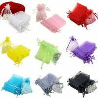 100pc Organza Gift Bags Jewelry Drawstring Bags Wedding Favors Bags Mesh Gift