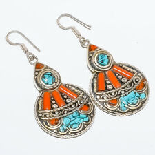 """Bamboo Coral & Turquoise Inlay Handmade Hook Earring 2.42"""" T2745"""