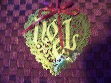 Vintage die cut CHRISTmas ornament goldtone filigree heart NOEL intricate detail