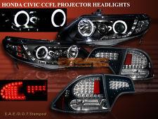 2006-11 HONDA CIVIC 4DR PROJECTOR HALO HEADLIGHTS CCFL G2+ BLACK LED TAIL LIGHTS