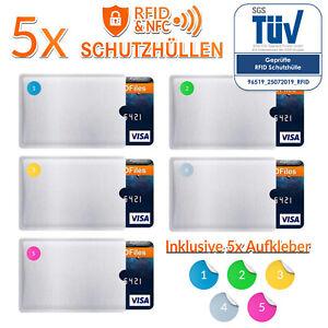 5x RFID Schutzhülle NFC Hülle EC Karte Blocker Kreditkarte Schutz Karten Hüllen