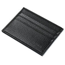 Men Crazy Horse Leather Slim Credit ID Card Holder Wallet Case Purse Bag Pouch #2 Black