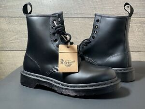 Dr. Martens 1460 MONO  Eye Leather Boots 14353001 BLACK SMOOTH Men 7 Women's 8