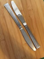Hampton Silversmiths Glossy Stainless Ribbed Ridges GRAND 2 Dinner Knives 9""