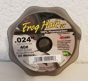 "Frog Hair 100% Fluorocarbon Tippet Material 40# .024"" 20 Meter Spool Fishing"