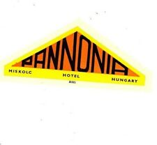 "Hotel Pannonia Miskolc Hungary 1940's/50's Luggage Label/Sticker 3""X4""x1"" Used"