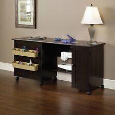 Sewing Craft Table Cabinet Organizer With Wheels Machine Storage Dark Brown Best