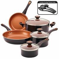 11 piece kitchen cookware set copper ceramic nonstick pots and pans,black