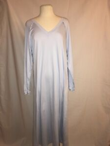 HANRO Pure Essence Nightgown Blue Glow  Long Sleeve 100% Cotton Comfort/Soft XL