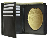 Black Concealed Carry Badge Leather Men's Wallet Flap Shield Holder