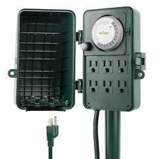 BN-LINK 24 Hour Outdoor Mechanical Timer 6 Ways Garden Power Stake Waterproof