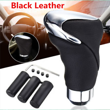 Black Leather Metal Chrome Car Auto Shifter Gear Knob Head Manual and Automatic