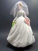 VINTAGE 1960s JOSEF ORIGINALS BRIDE ROTATING MUSIC BOX FIGURINE WEDDING MARCH
