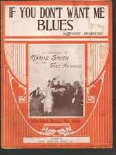 If You Don't Want Me Blues 1921 Mamie Smith & Her Jazz Hounds Sheet Music