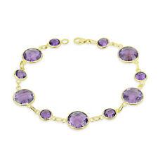 14K Yellow Gold Round Shaped Amethyst Gemstone Bracelet 8 Inches