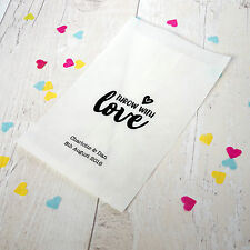 10x personalised 'throw with love' confetti bags for wedding, party, favours
