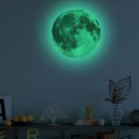 3D Luminous Moon Wall Sticker Glow in the Dark Home Art Decor Kids Room Decal