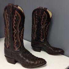 TONY LAMA Dark Brown Leather Ostrich Orange embroidered Western Boot Sz 8 B3859