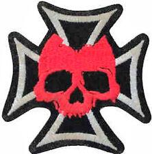 Hierro En / De Coser Parche Bordado Insignia Malta Cruz de malta calavera rojo