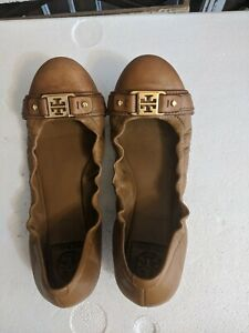 Tory Burch Women's Shoes Clines Tan Tumbled Leather Gold Logo Flats Size 9.5 M