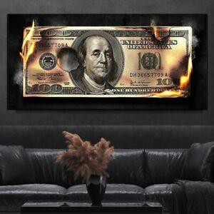 2021 Burning US Dollar Canvas Wall Art Luxury Burning Money Poster Decoration