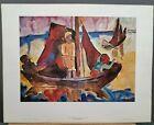 "Karl Schmidt-Rottluff Vintage Print ""Fishing Boats in Calm Weather"" 22.5""×28.5"""